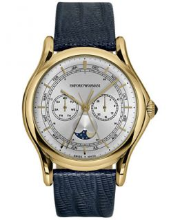Emporio Armani Mens Swiss Classic Blue Leather Strap Watch 44mm