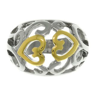 CGC Two tone Steel Swirling Heart Ring