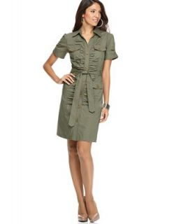 NY Collection Dress, Short Sleeve Ruched Cargo Shirtdress   Dresses