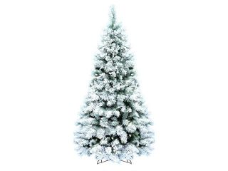 7.5' Pre Lit Flocked Boulder Pine Artificial Christmas Tree   Clear LED Lights