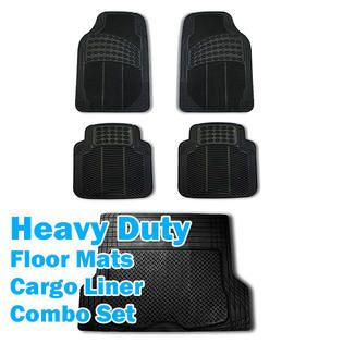 FH Group 5pc Full Set All Weather Heavy Duty Car Floor Mat Trunk Cargo