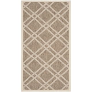 Safavieh Indoor/ Outdoor Courtyard Crisscross pattern Brown/ Bone Rug